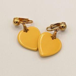 VTG Bakelite TESTED MCM Banana Heart Earrings
